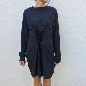 (Wayf) Lace Up Ribbed Sweater Dress